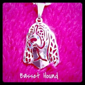 New Basset Hound Sterling Silver Pendant Necklace